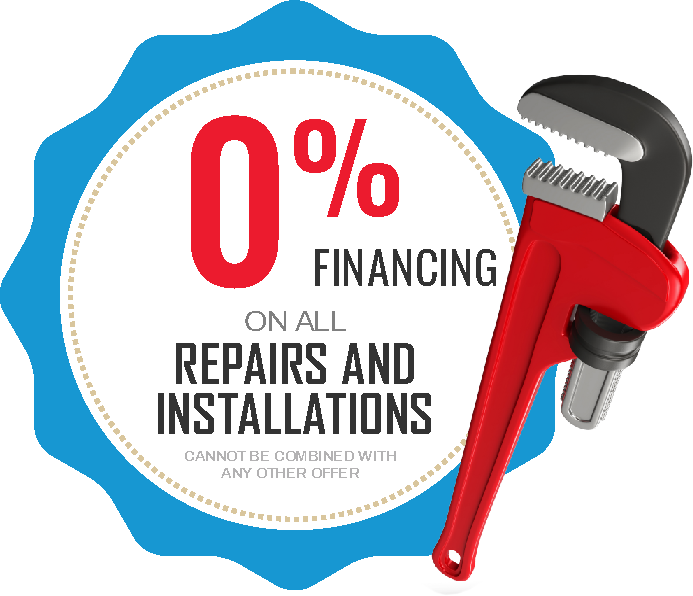 Zero percent financing on all repairs and installations coupon