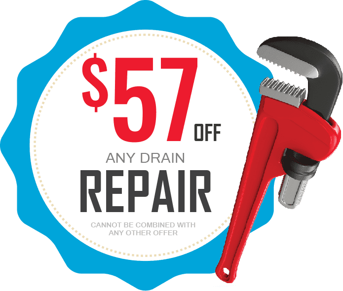 Fifty-seven dollars off any drain repair coupon