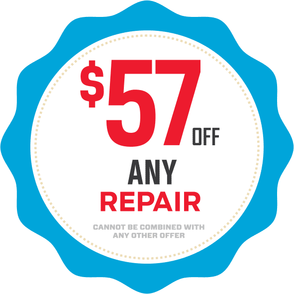 Fifty-seven dollars off any repair coupon